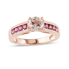 Genuine Morganite and Pink Tourmaline 14K Rose Gold Over Sterling Silver Ring