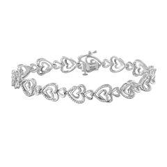 ForeverMine® 1/10 CT. T.W. Diamond Sterling Silver Heart-Linked Bracelet