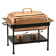 Old Dutch Rectangular Décor Copper over StainlessSteel Chafing Dish 8 Qt