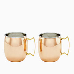Old Dutch Two Ply Solid Copper and Stainless Steel16 Oz Moscow Mule Mugs Set of 2
