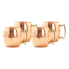 Old Dutch 16 Oz Solid Copper Hammered Moscow MuleMugs Set of 4