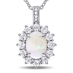Round Genuine Opal, White Topaz and Diamond-Accent Starburst Pendant Necklace